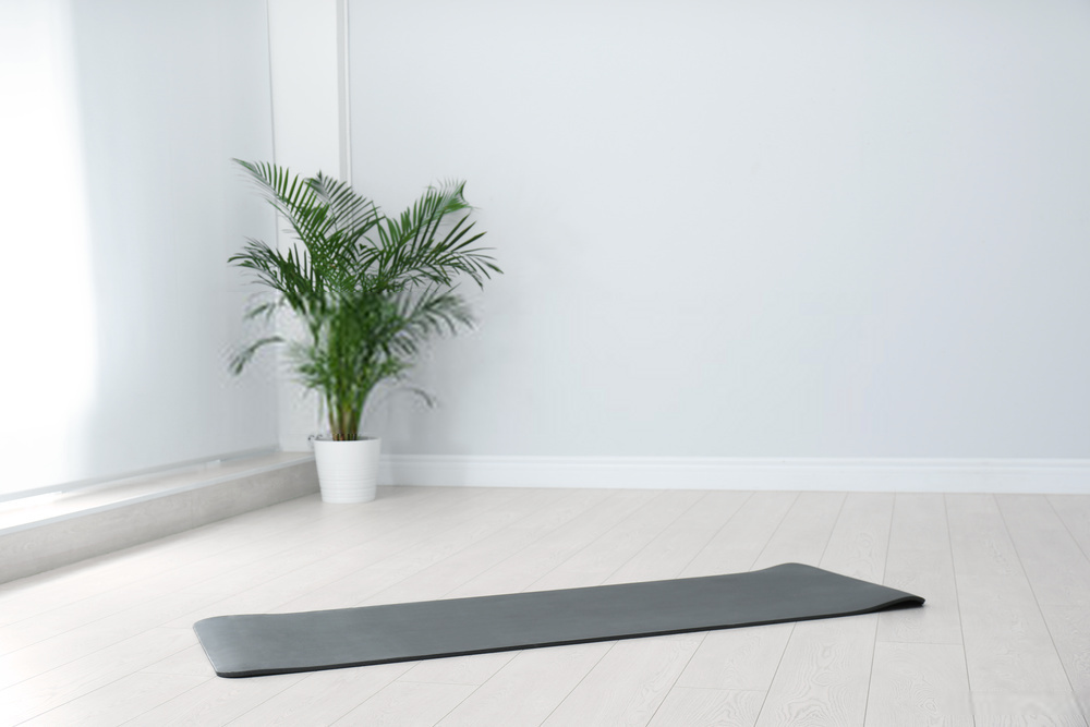 minimalistic yoga room